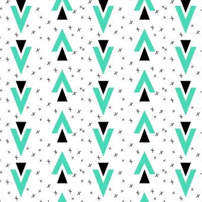 triangle chevron // nursery baby crosses black and white