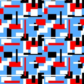 black white and red rectangles