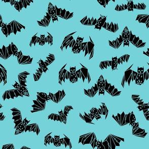 bat // bats geometric geo turquoise aqua spooky bat halloween