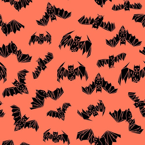 bat // geo bat geometric coral orange bat fabric halloween kids