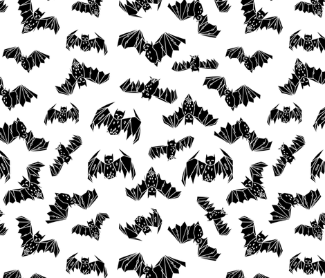 bat // geo bat bats halloween black and white kids nursery non-direcitonal fabric by andrea_lauren on Spoonflower - custom fabric