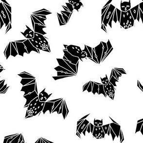 bat // geo bat bats halloween black and white kids nursery non-direcitonal