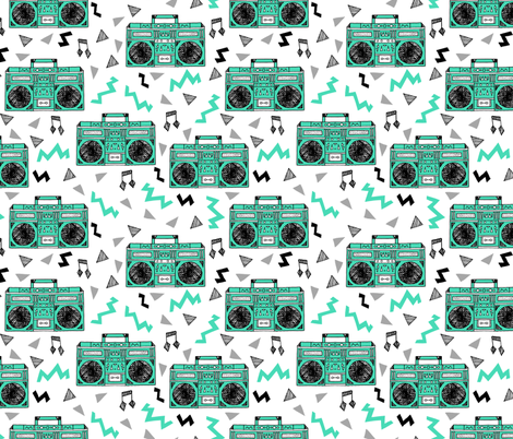 80s boombox // 80s print, 80s trend, 80s fabric, music fabric boombox boombox fabric fabric by andrea_lauren on Spoonflower - custom fabric