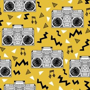 80s Boombox // yellow mustard 80s print 80s fabric 80s design memphis inspired rad fabric