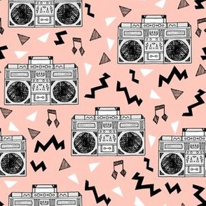 80s Boombox // 80s fabric pink trendy memphis print 90s fabric cassettes