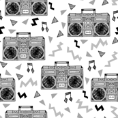 80s Boombox // grey 80s fabric rad 90s fabric cassette cassettes fabric memphis inspired fabric
