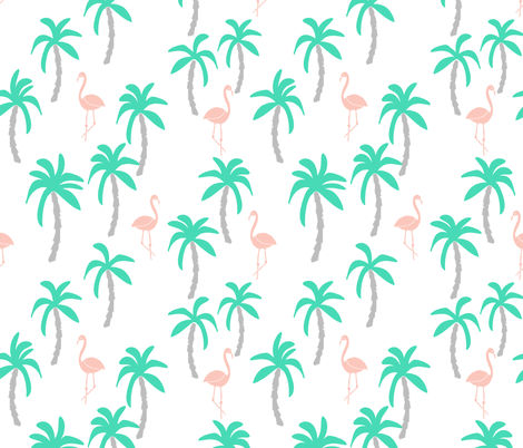 Palm trees pastel flamingo tropical pink and grey kids for Grey childrens fabric