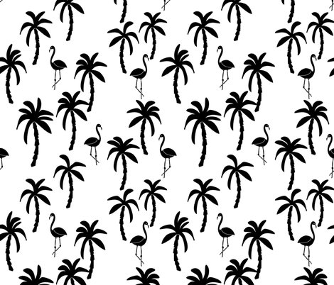 Palm tree black and white palms palm trees palm print for Black and white childrens fabric