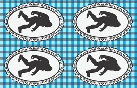 bigfoot cameo on blue plaid fabric by christy_kay on Spoonflower - custom fabric