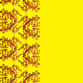 Yellow Floral Hearts Border Fabric