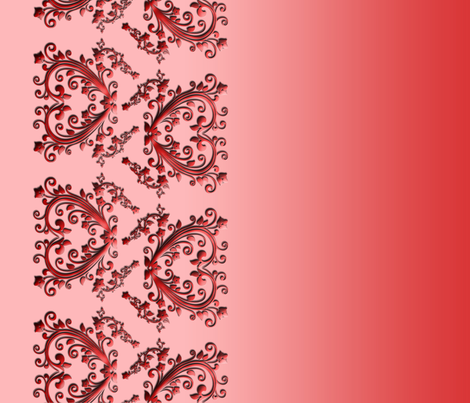Red Floral Hearts Border Fabric fabric by stradling_designs on Spoonflower - custom fabric