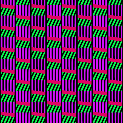 Stacked Wonky Cubes Purple Green fabric by eve_catt_art on Spoonflower - custom fabric