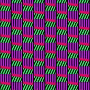Stacked Wonky Cubes Purple Green