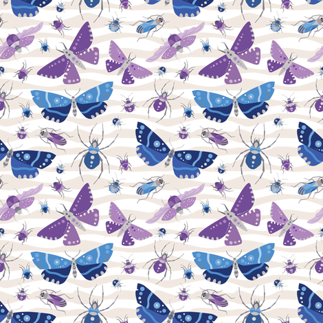 The Bug Invasion - Purple and Blues - Small fabric by jesseesuem on Spoonflower - custom fabric