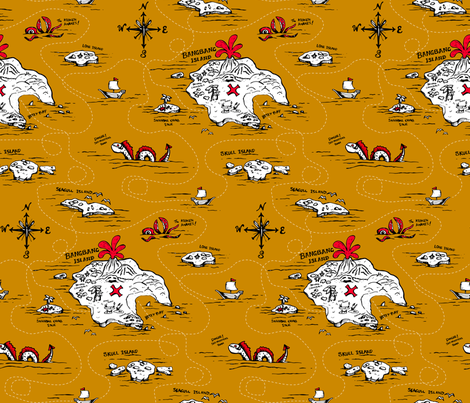 Adventure Islands Ahoy! on Gold  fabric by pinky_wittingslow on Spoonflower - custom fabric