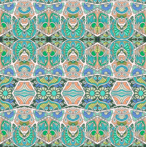 Doing the Peacock Squirm fabric by edsel2084 on Spoonflower - custom fabric