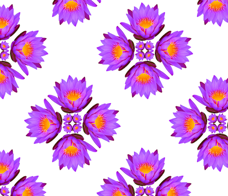 Purple Lily Flowers - Large on White fabric by thecumulusfactory on Spoonflower - custom fabric