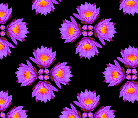 Purple Lily Flowers - Large on Black fabric by thecumulusfactory on Spoonflower - custom fabric