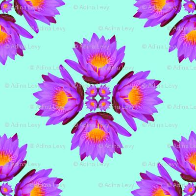 Purple Lily Flowers - Large on Aqua Blue