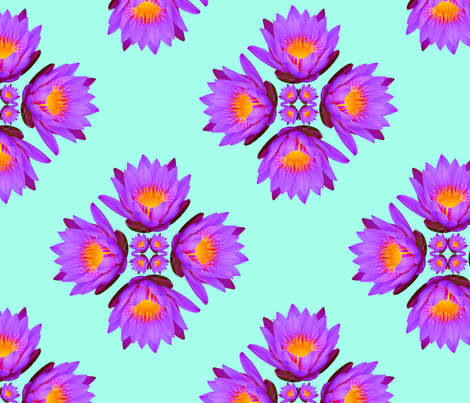 Purple Lily Flowers - Large on Aqua Blue fabric by thecumulusfactory on Spoonflower - custom fabric