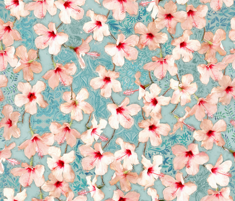 Shabby Chic Painted Hibiscus Pattern - peach & mint fabric by micklyn on Spoonflower - custom fabric