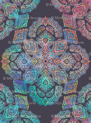 Boho intense detailed doodle pattern in rainbow colors for Object pool design pattern