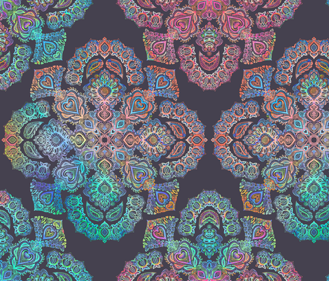 Boho Intense - detailed doodle pattern in rainbow colors fabric by micklyn on Spoonflower - custom fabric