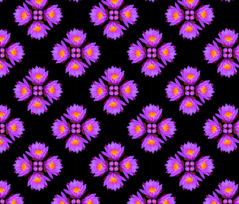 Purple Lily Flowers - Small on Black fabric by thecumulusfactory on Spoonflower - custom fabric