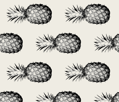 Pineapples black and cream large - rotated fabric by thecumulusfactory on Spoonflower - custom fabric