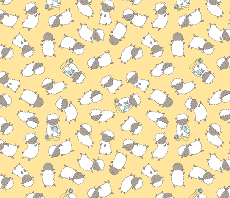 Happy Sheep - Soft Yellow fabric by ceciliamok on Spoonflower - custom fabric