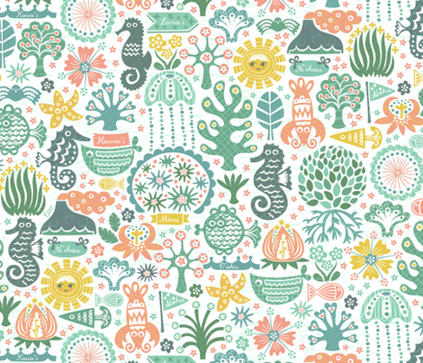 Islands of Hawai'i: Flora & Fauna fabric by christinewitte on Spoonflower - custom fabric