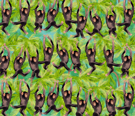 cheeky monkey line fabric by kociara on Spoonflower - custom fabric