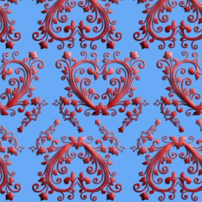 Floral Hearts Seamless Pattern Blue