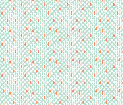 Raindrops: Coral & Mint fabric by nadiahassan on Spoonflower - custom fabric