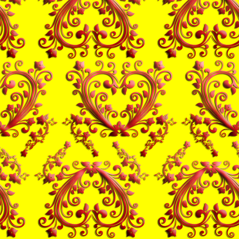 Floral Hearts Seamless Pattern Yellow fabric by stradling_designs on Spoonflower - custom fabric