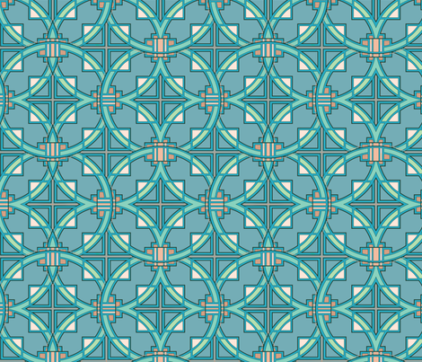 Pueblo Deco in turquoise fabric by hannafate on Spoonflower - custom fabric