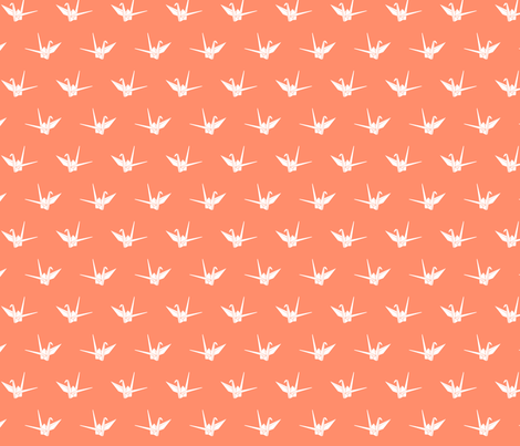 Origami Cranes: Coral fabric by nadiahassan on Spoonflower - custom fabric