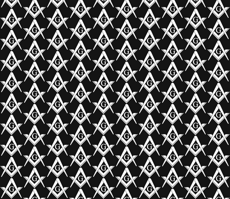 "Large 2"" Masonic Square and Compass Black fabric by elemental-design on Spoonflower - custom fabric"