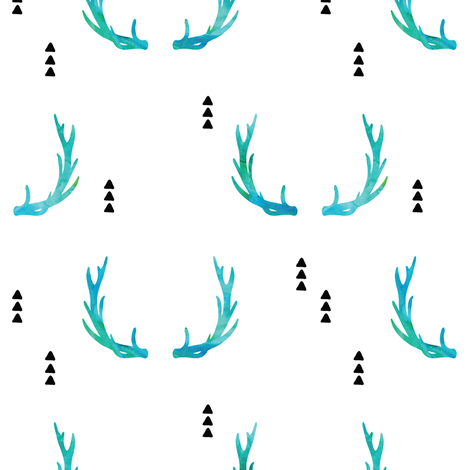 Antlers// blue watercolor - Wild and Free fabric by littlearrowdesign on Spoonflower - custom fabric