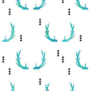 Antlers// blue watercolor - Wild and Free