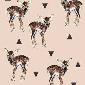 Fawns + Triangles - Peachy Pink