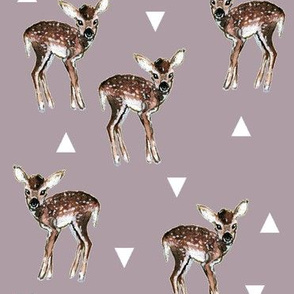 Fawns + Triangles - Mauve with White