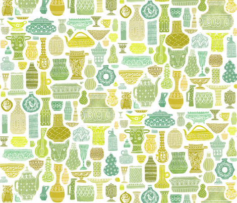 Vessel Collection in Green fabric by kirsten_sevig on Spoonflower - custom fabric