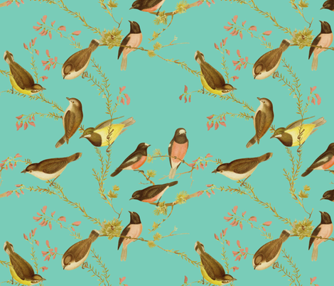 Birds of Australia ~ Robins and Gerygones ~ William  fabric by peacoquettedesigns on Spoonflower - custom fabric