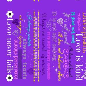 Love is patient light purple