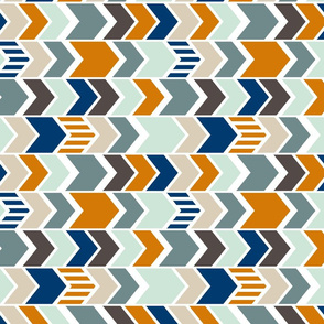 Navy Orange Chevron 90 deg