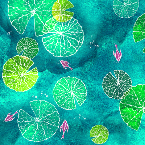 The Water Lily Islands fabric by honey_gherkin on Spoonflower - custom fabric