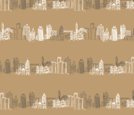 Detroit Landmarks Coffee Wide fabric by scarletcrane on Spoonflower - custom fabric
