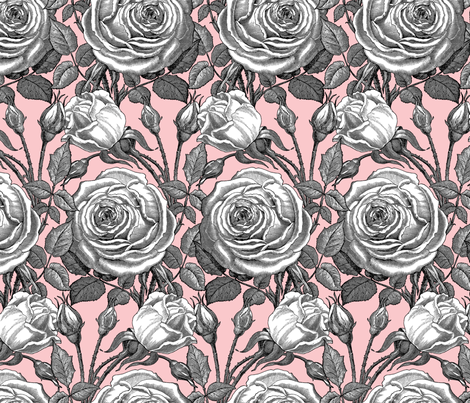 Perle des Jardins ~ Black and White ~ Dauphine fabric by peacoquettedesigns on Spoonflower - custom fabric