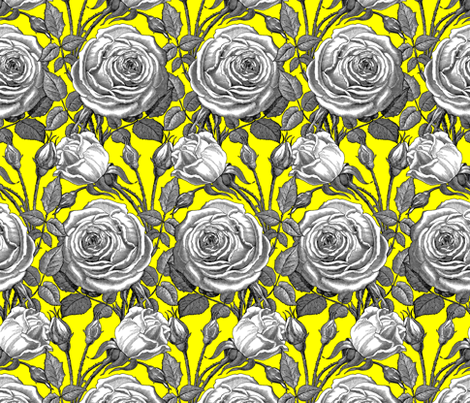 Perle des Jardins ~ Black and White ~ La! fabric by peacoquettedesigns on Spoonflower - custom fabric